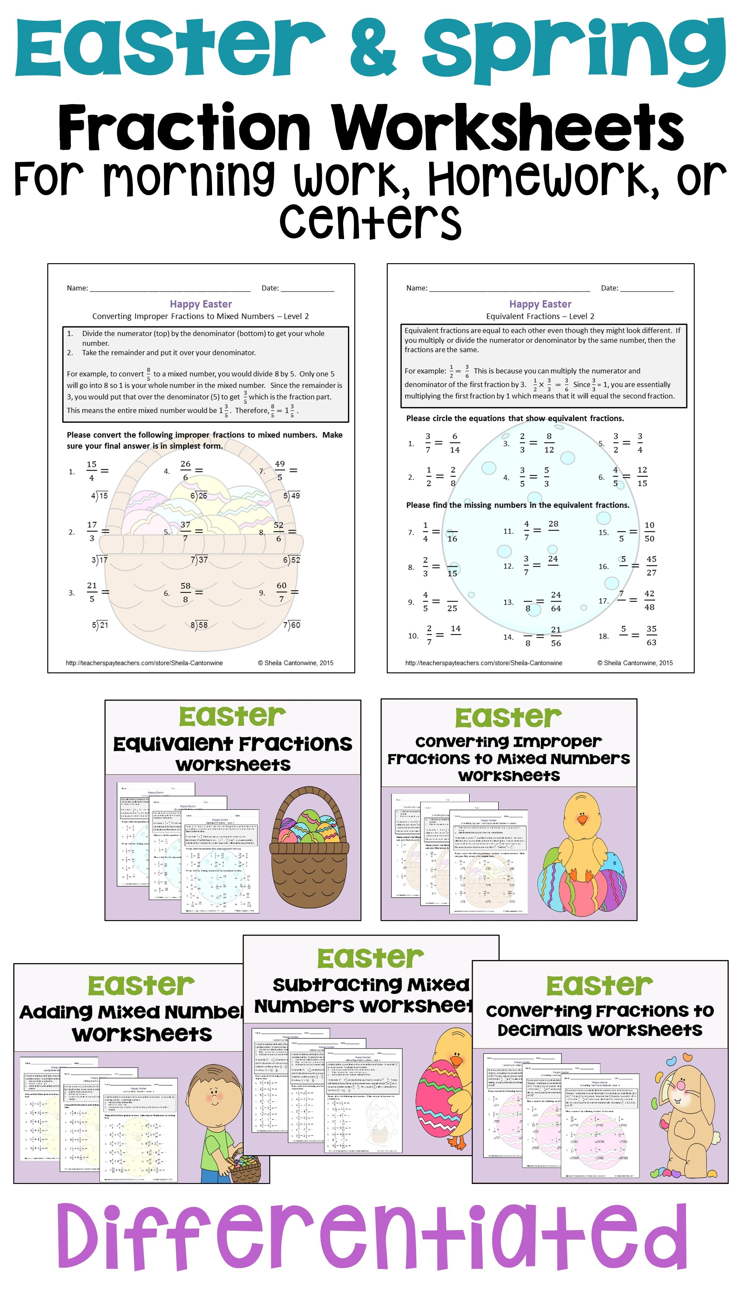 Easter Fraction Worksheet Bundle Differentiated With 3