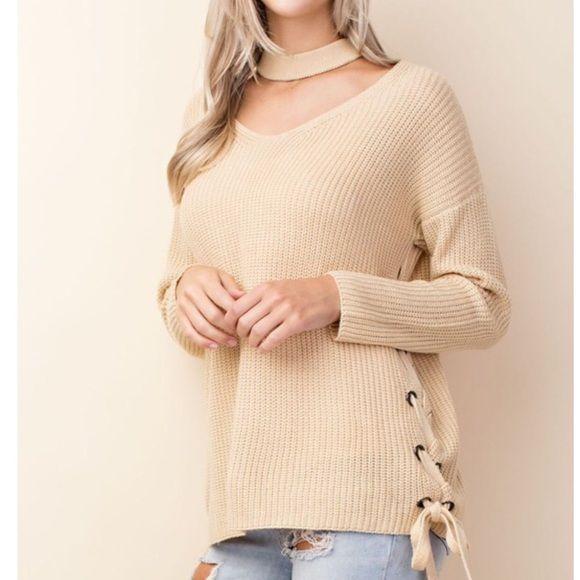 b3257a82a9 Choker Lace up knit sweater v neck cream pink top Choker Lace up knit  sweater v neck cream pink top cream and pink Sweaters V-Necks