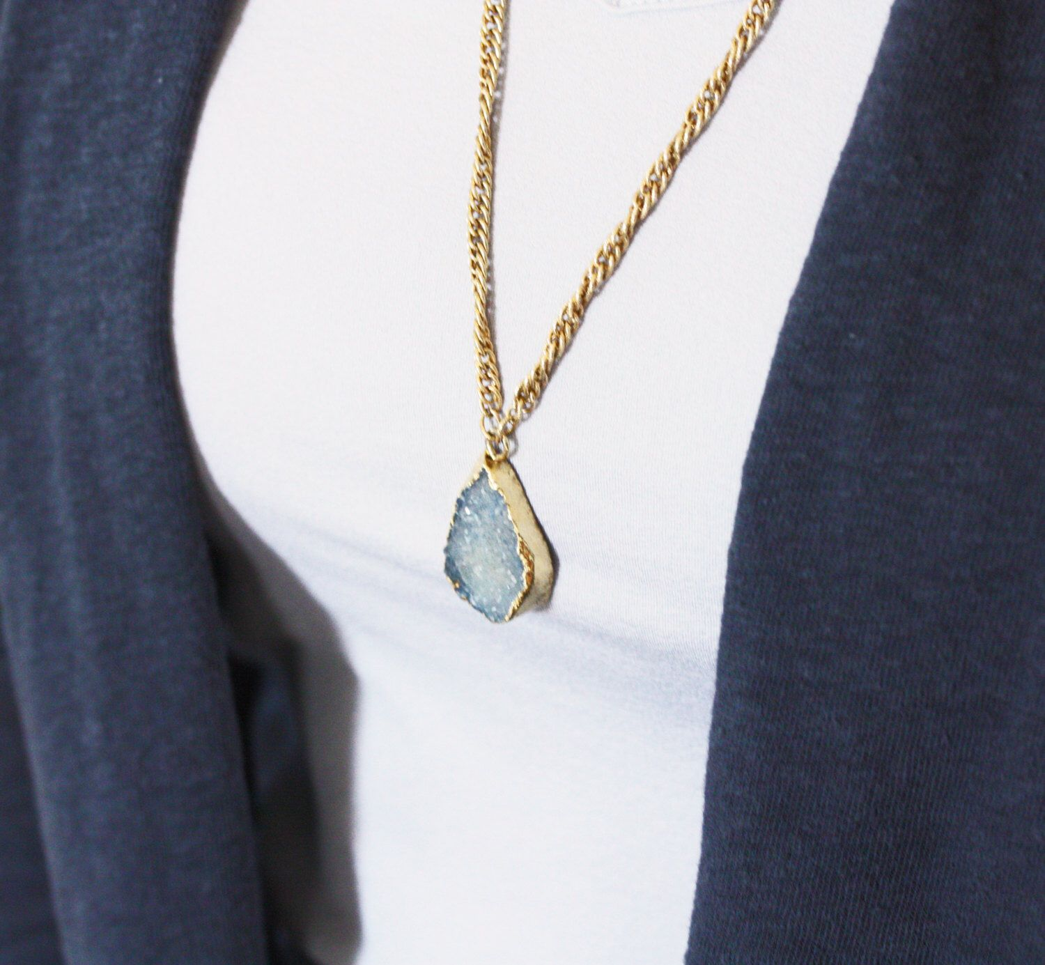 Golden blue druzy pendant necklace with upcycled vintage chain by