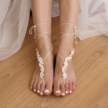 e10a70d7a1dc1 Barefoot Sandals Crochet Pattern DIY Tutorial Bare Foot Sandles Beach  Wedding Nude Shoes Anklet Footless Toe Thongs Jewelry PDF