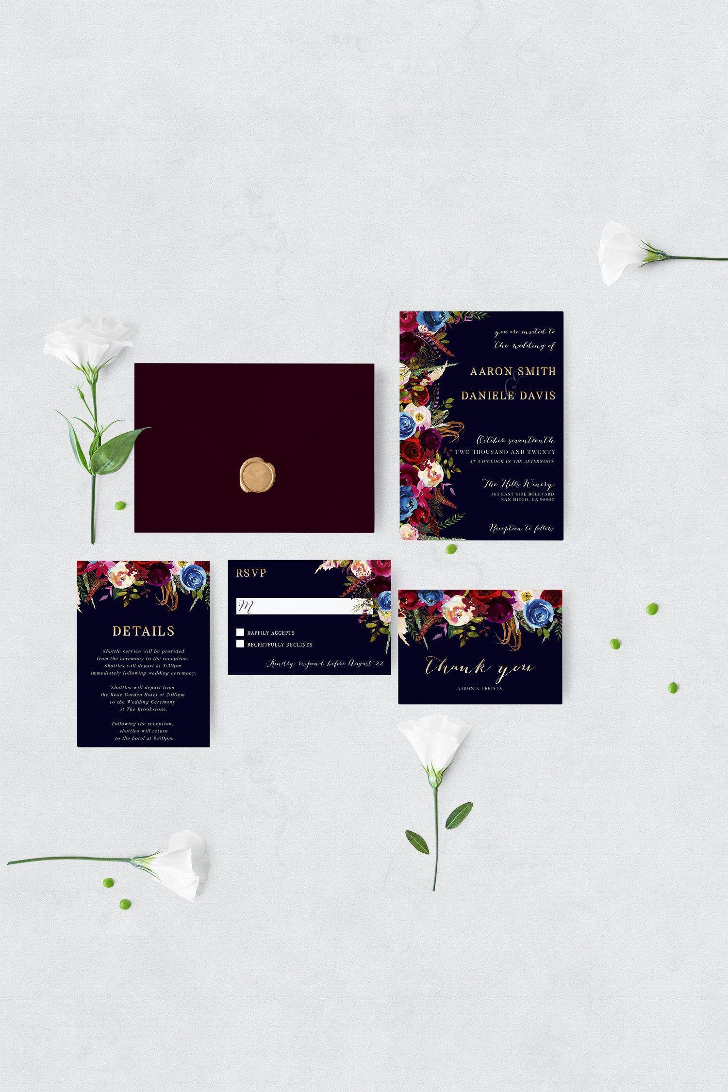 Fall Wedding Invitation Bundle  Editable Template Bohemian | Etsy