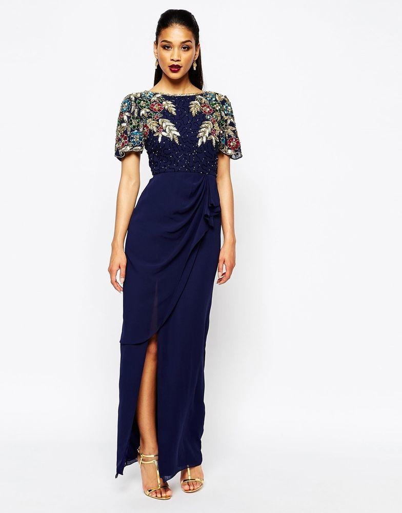 a61fdc21a Virgos Lounge Ariann Embellished Maxi Dress W/ Frill Wrap Skirt Navy UK  10/EU 38