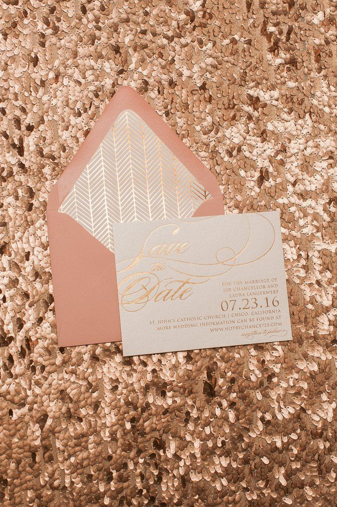 FAITH Save The Date, rose gold foil invitations, foil pattern envelope liners