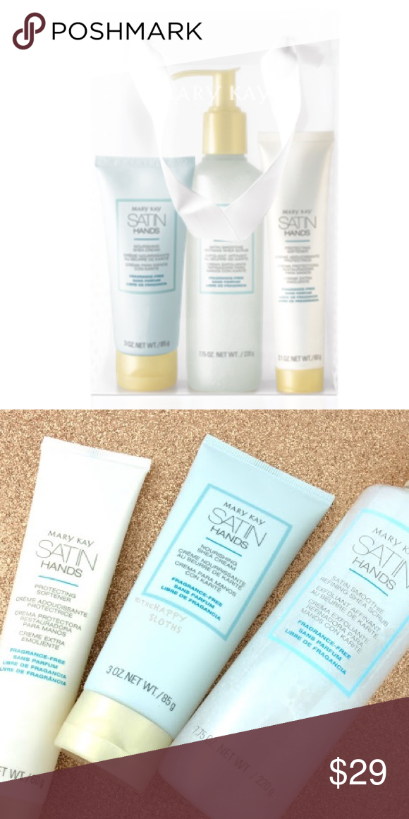 3 left! Mary Kay Satin Hands Pampering Set 🤗 FULL SIZE! Hands instantly feel moisturized, soft and smooth. Revitalizes and rejuvenates the look of hands, so they feel renewed and instantly look healthier. Hands are left feeling satiny-smooth and supple as rough, dry areas are smoothed away and skin feels soothed. Features a scrub, hand cream with nourishing shea butter, and also includes a softener. BRAND NEW - EXPIRES DEC 2019! Mary Kay Makeup