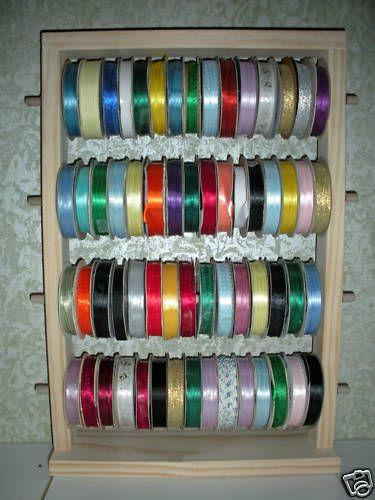 50 Spool Ribbon Holder Scrapbooking Organizer Wood Rack Curl