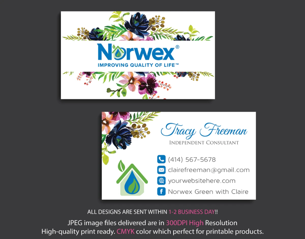 Norwex Business Cards Personalized Norwex Template Nr09 Custom Business Cards Cleaning Business Cards Personal Business Cards