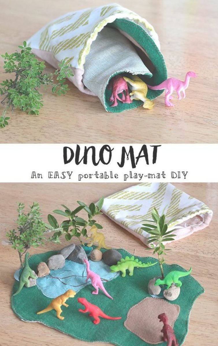 Fun Crafts For Kids Make This Adorable Small World Pretend Play That Rolls Up Into Itself For Easy Transportation Ki Play Mat Diy Dinosaur Play Diy Kids Toys