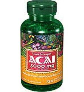 120 Cápsulas de ACAI 3000mg, antiedad y antioxidante natural.  Contiene flavonoides y antioxidantes naturales que ayudan a proteger el cuerpo contra los radicales libres que dañan las células. Los antioxidantes son una importante línea de defensa contra estos átomos de delincuentes y también ayudar a apoyar y mantener la salud del sistema inmunológico.