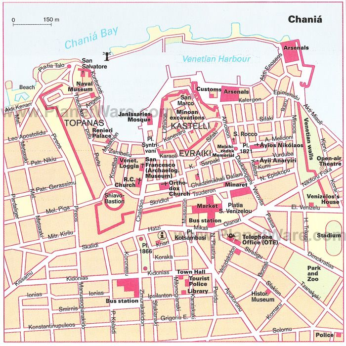 Map of Chania detailed PlanetWare Places Id Like to Go