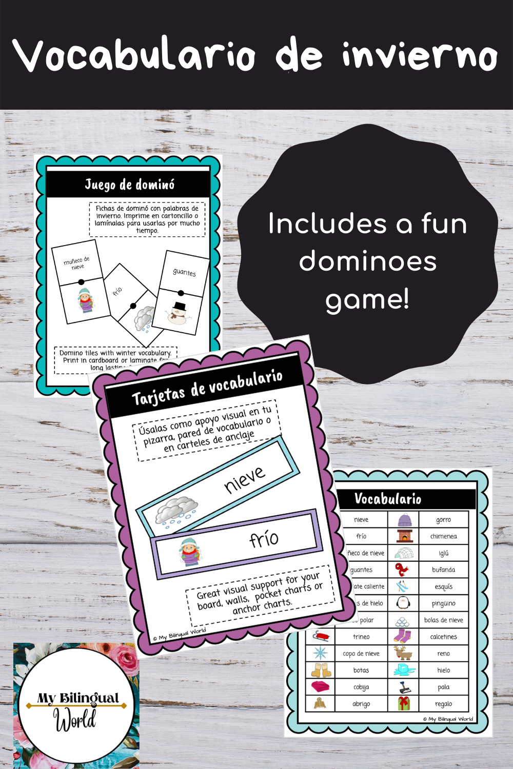 This great resource is a fun way for your students to increase and practice their Spanish vocabulary. It includes flashcards with the word and picture, a list of all the words with picture and 24 dominoes tiles! Your students will love this game!