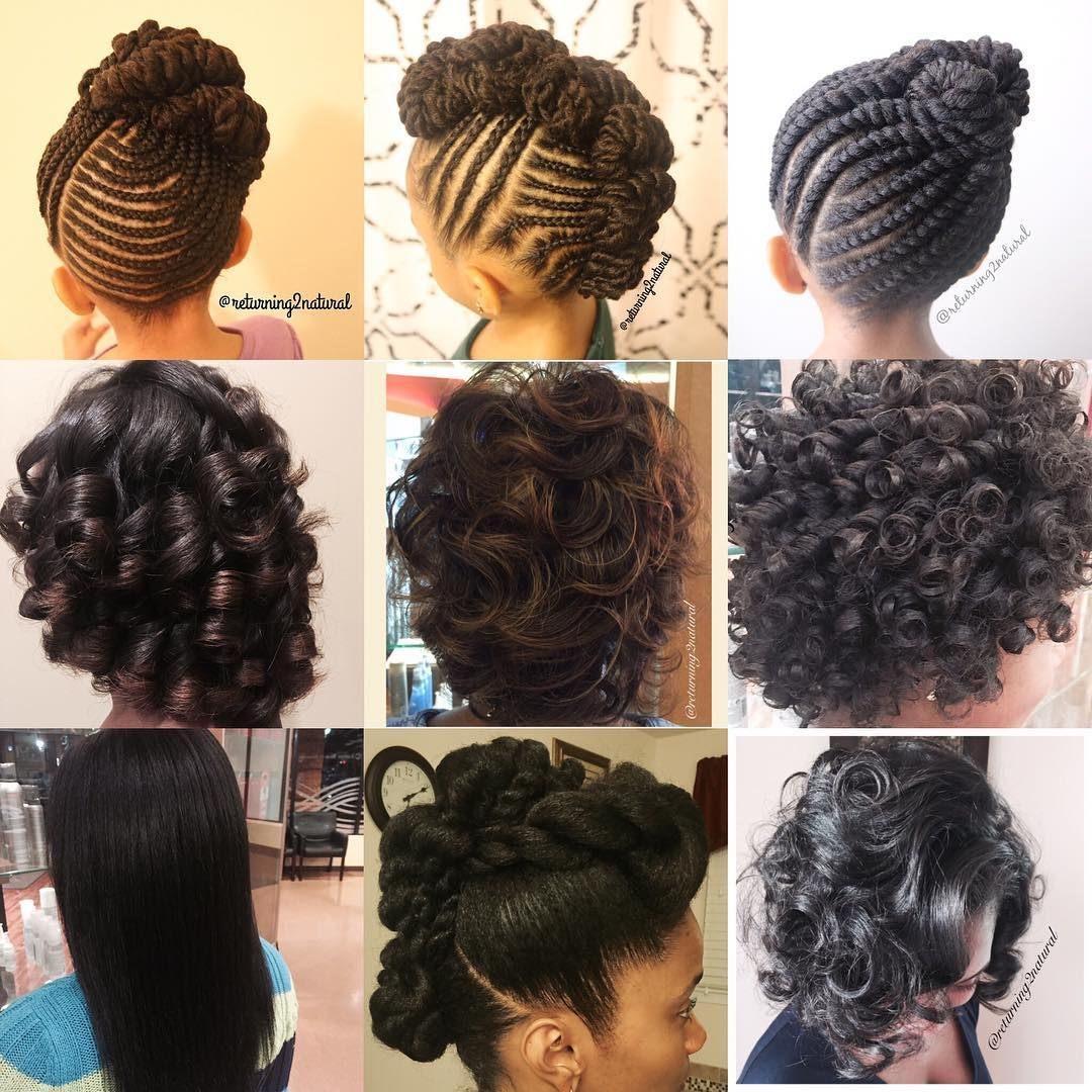 braid n twists, twisted updos, flat-ironed curls, roller sets
