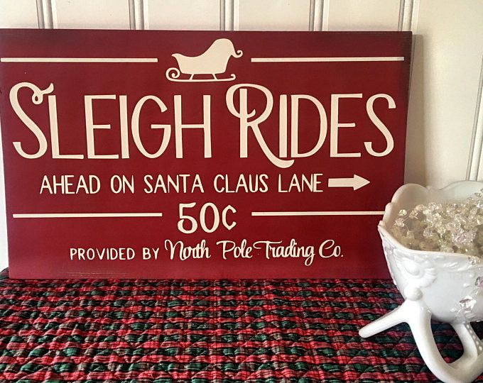 Sleigh Ride Sign - Christmas Sign - Christmas Decoration - Christmas