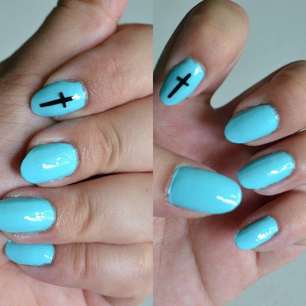 Cross Almond Shaped Nails Nail Art Pinterest Almond Shape Nails