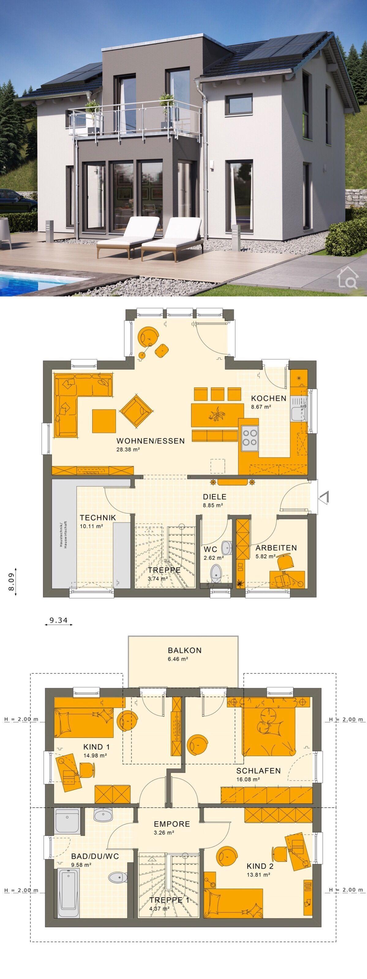 Fertighaus modern Grundriss mit Satteldach, Zwerchgiebel