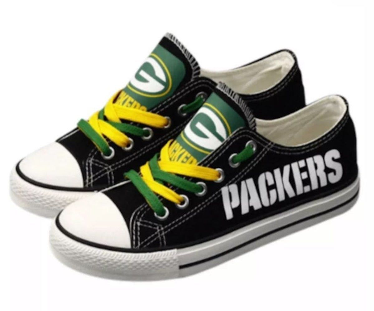Green Bay Packers Sneakers Size 7 5 38 In 2020 Green Bay Packers Shoes Green Bay Packers Clothing Green Bay Packers Fans