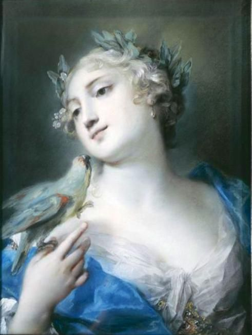 Portrait of a Lady with a Parrot - Rosalba Carriera - 1675 - 1757