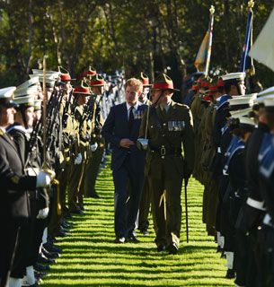 Prince Harry inspects the troops in New Zealand