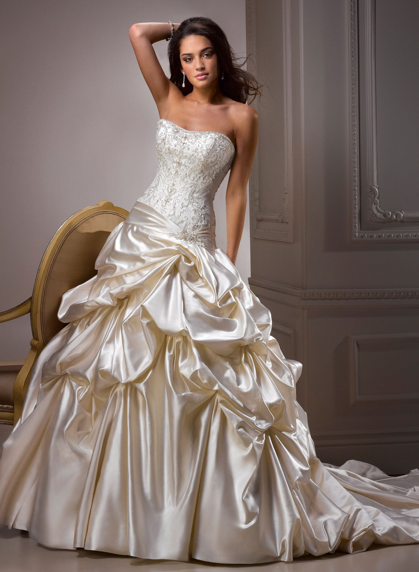 Maggie sottero wedding dresses swarovski crystals satin and swarovski