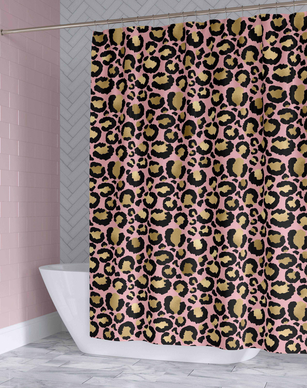 Pink Gold Leopard Print Custom Fabric Shower Curtain Animal
