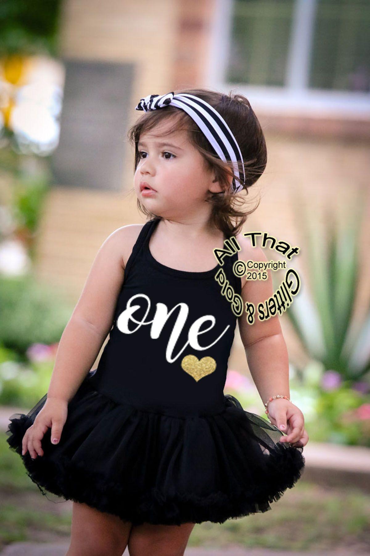 Cute 4st Birthday Dresses - Black and White One Glitter