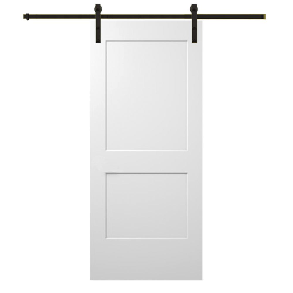 Mmi Door 36 In X 80 In Smooth Monroe Primed Composite Sliding Barn Door With Oil Rubbed Bronze Hardware Kit Interior Barn Doors Sliding Door Hardware Panel Moulding
