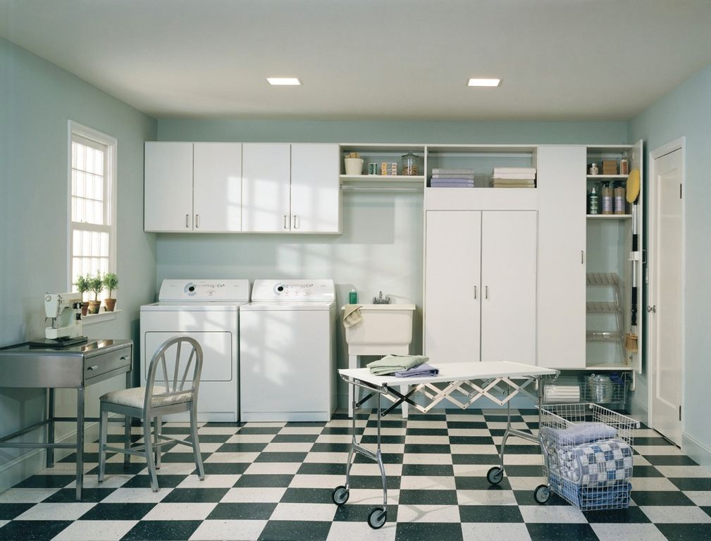 Traditional Laundry Room With Simple Granite Floors, High Ceiling, Flush  Light, Heavy Duty