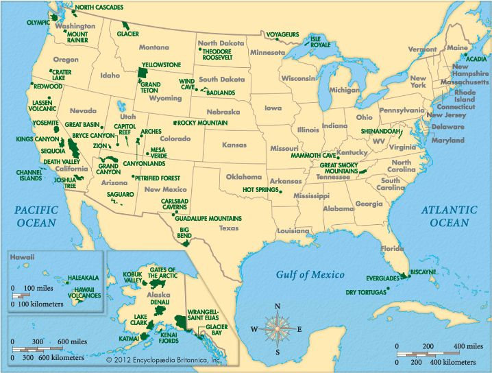 United States Map Of National Parks.United States National Park Map Geography Us National Parks
