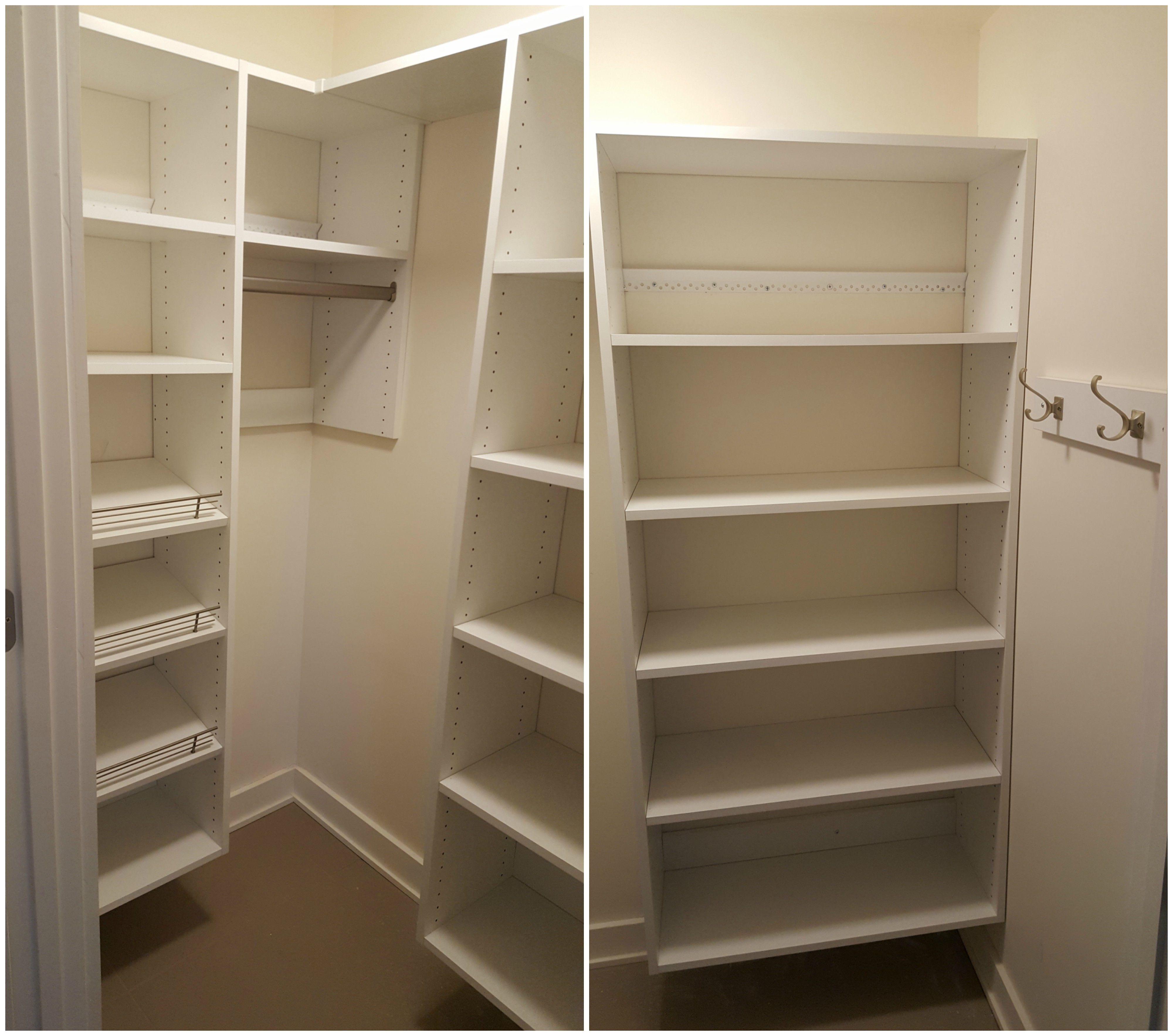 White Melamine Coat Closet With Adjule Shelving Long Hang Shoe Fences And Wall Hooks