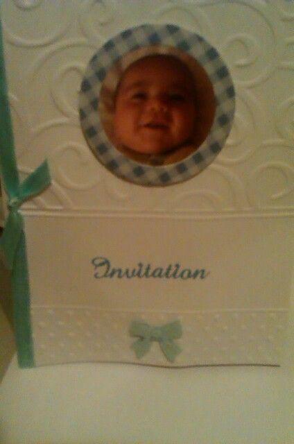 Baby christening invitation using sizzix embossing folder