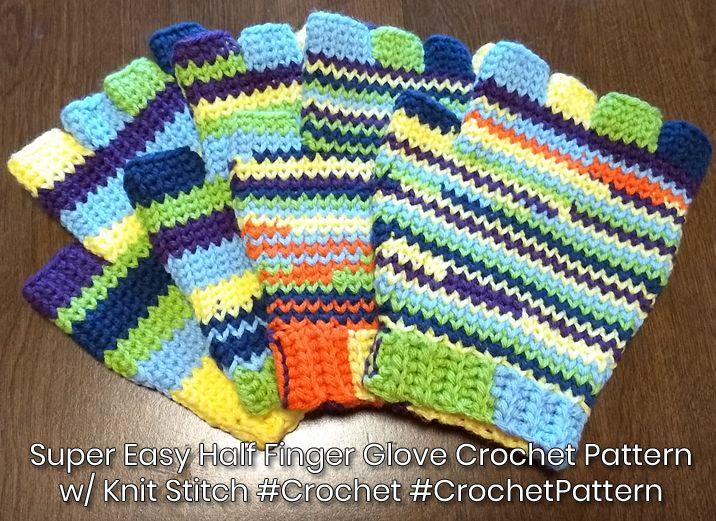 Super Easy Half Finger Glove Crochet Pattern w/ Knit ...