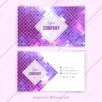 Cartão com quadrados roxo
