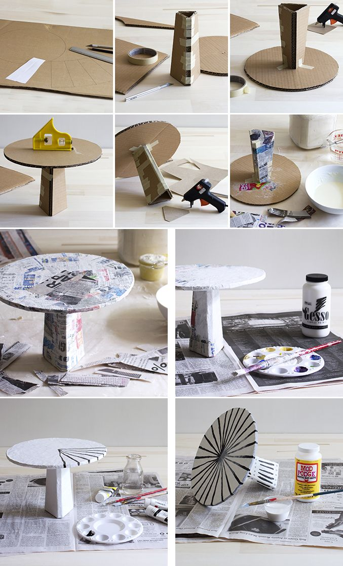 Diy Papier Mache Cake Stand Diy Cake Stand Cardboard Crafts Diy Decor