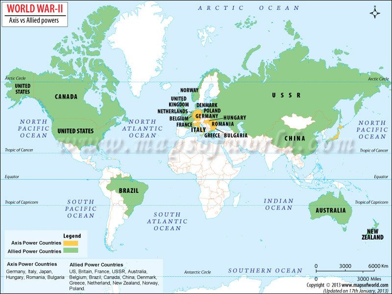 Amazing World War II Map   Great Map Of Axis And Allied Powers