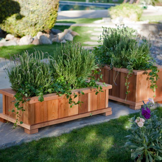 Rectangle Cedar Wood Boise Patio Planter Box   Garden Planters At Simply  Planters