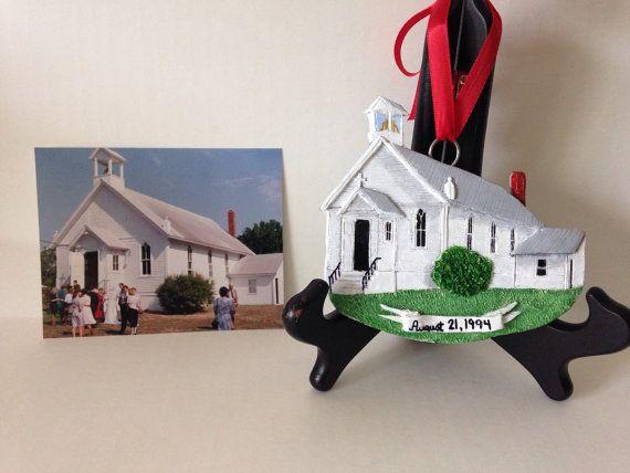 Custom Wedding Venue Ornament; Unique Anniversary Gift, Wedding Gift, Valentines Gift; #wedding ornament; #anniversary gift