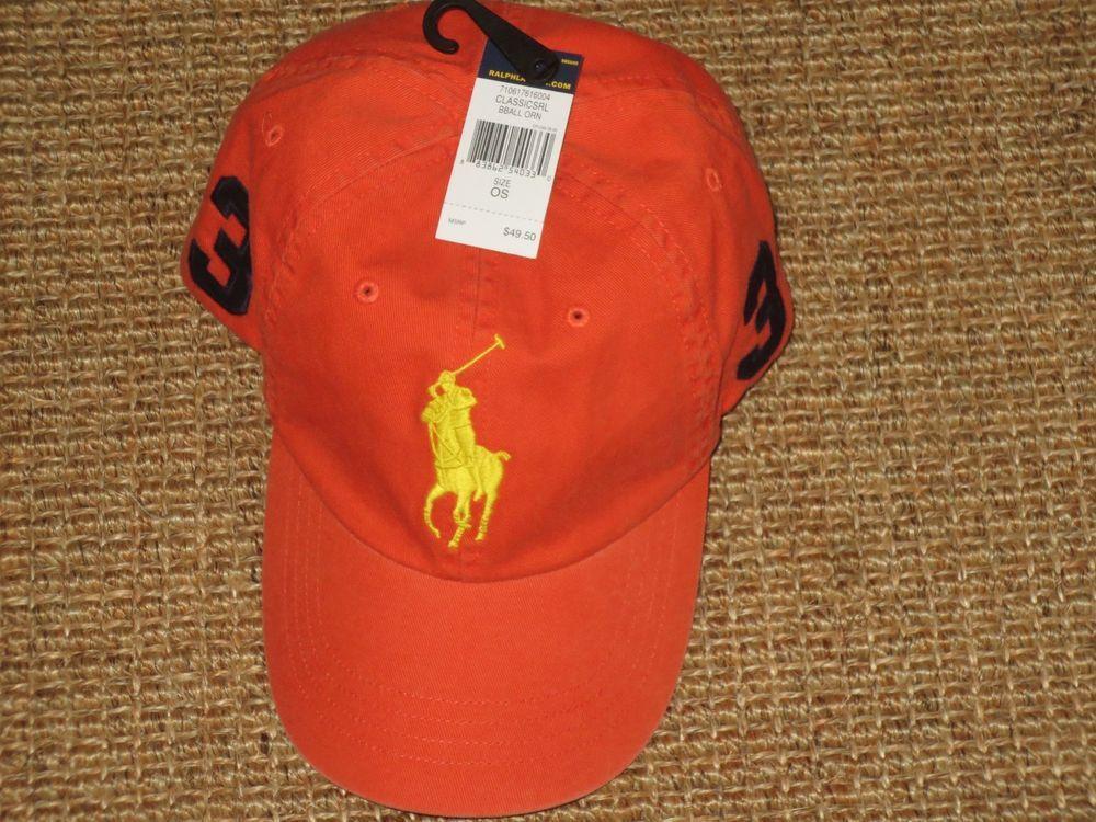 0e87823216c NEW POLO RALPH LAUREN MEN S BIG PONY BASEBALL CAP CHINO HAT ORANGE   PoloRalphLauren  BaseballCap