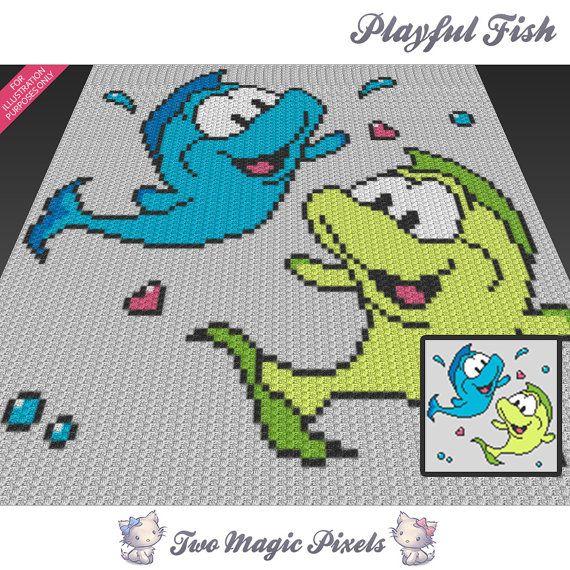 Playful Fish c2c graph crochet pattern; instant PDF download; baby ...