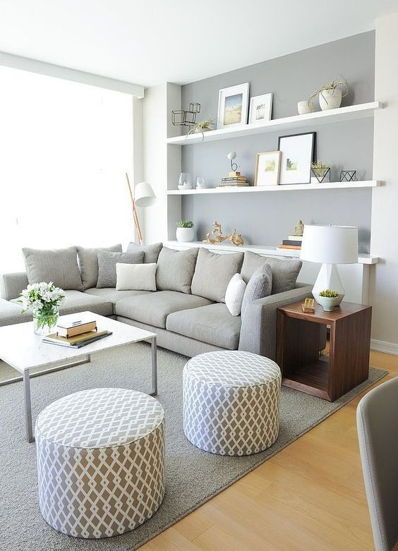 Sofalandschaft - grau, weiss, braunes Holz Wohnzimmer Pinterest