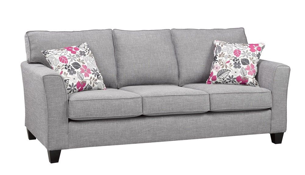 Canadian Made 2550 Grey Fabric Sofa with cushions Couch ...