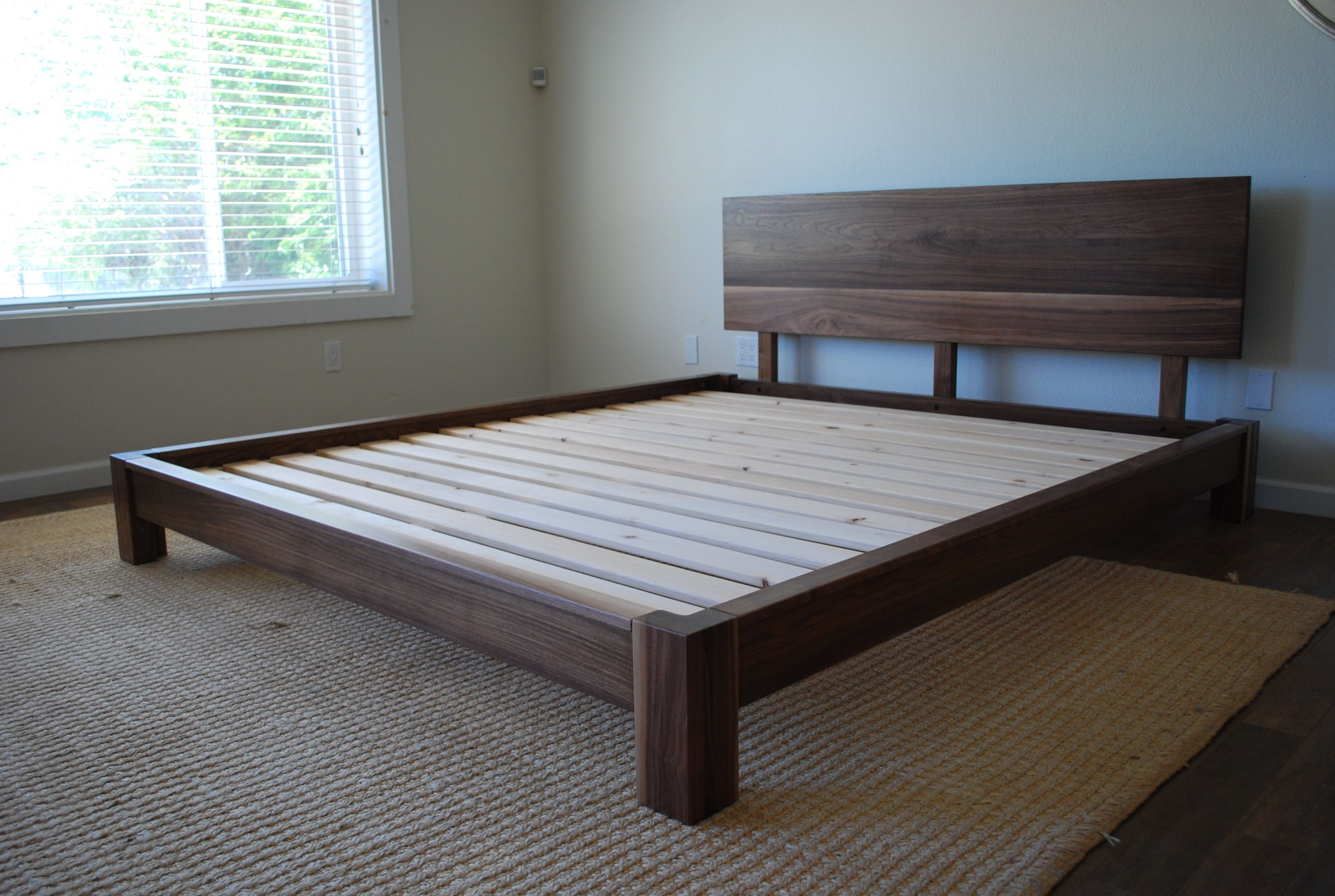 The Low Profile Platform Bed With Headboard In Solid Black Walnut Available In All Sizes And Custom Built For Your Ma Simple Bed Simple Bed Frame Hardwood Bed