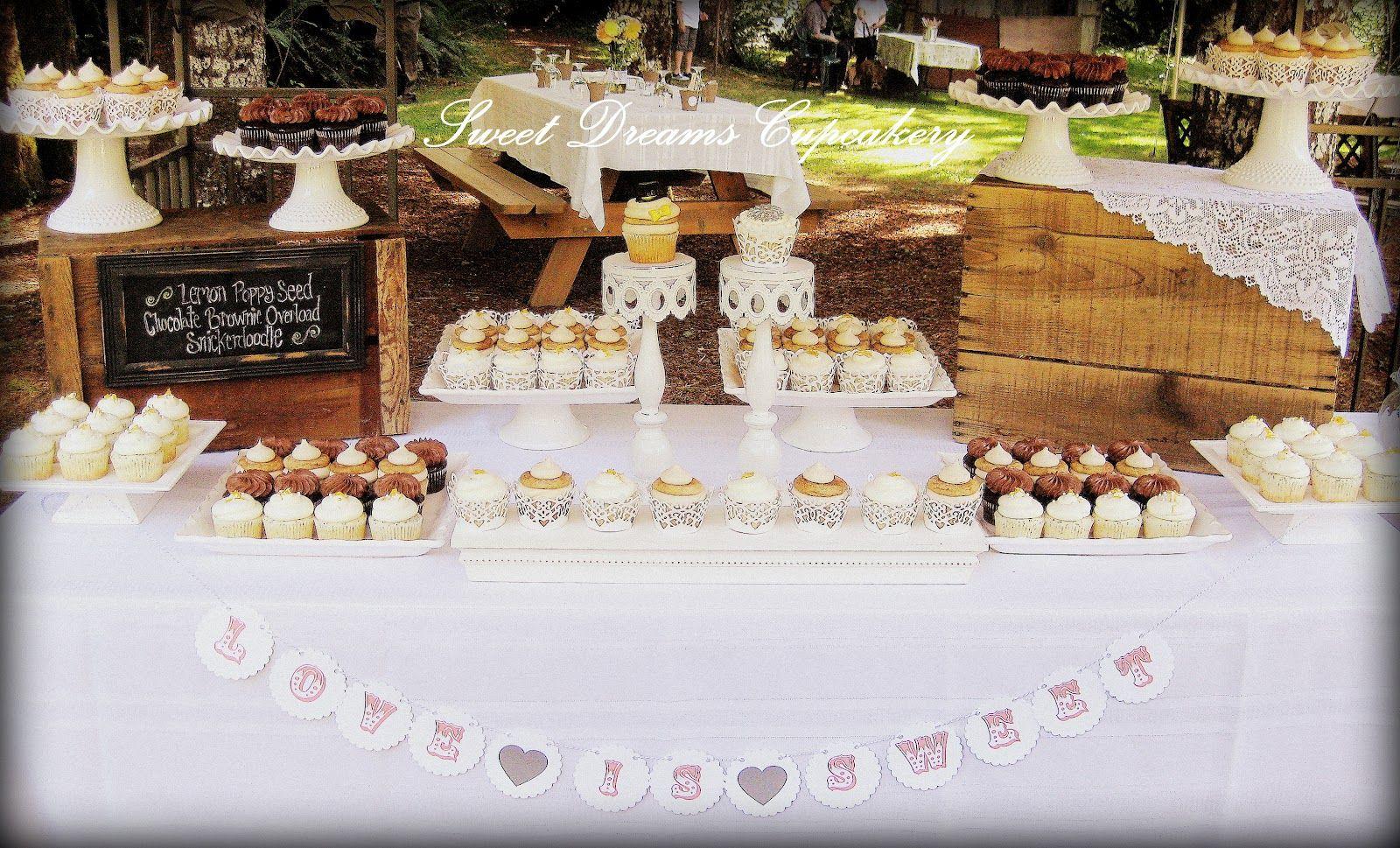rustic wedding cupcake display