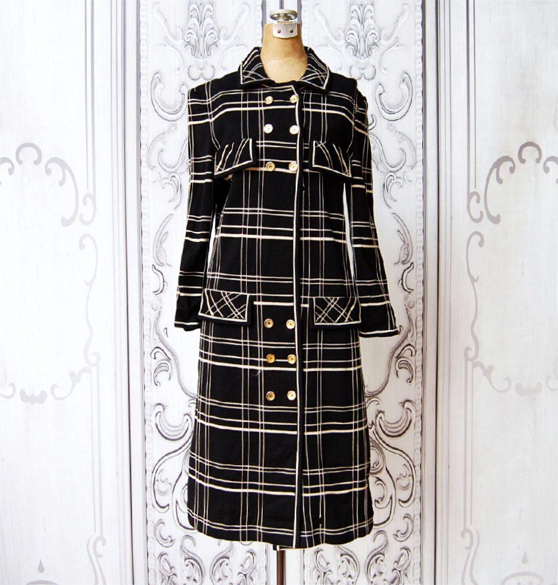 Vintage us long knit dress mod us black u white sweater midi