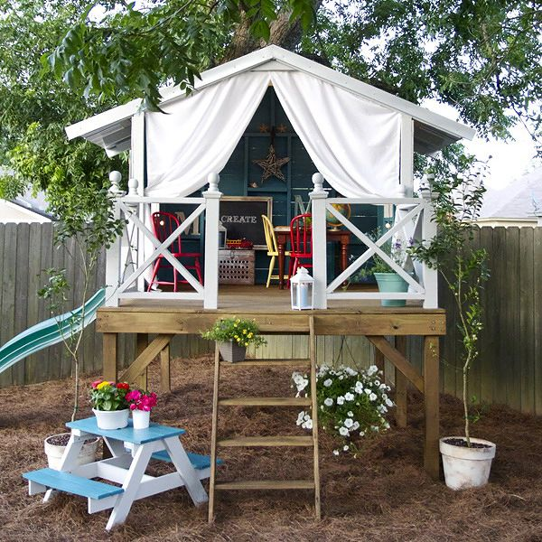 childrens playhouse in the garden or backyard 2 inspiring examples of kids playhouses in details