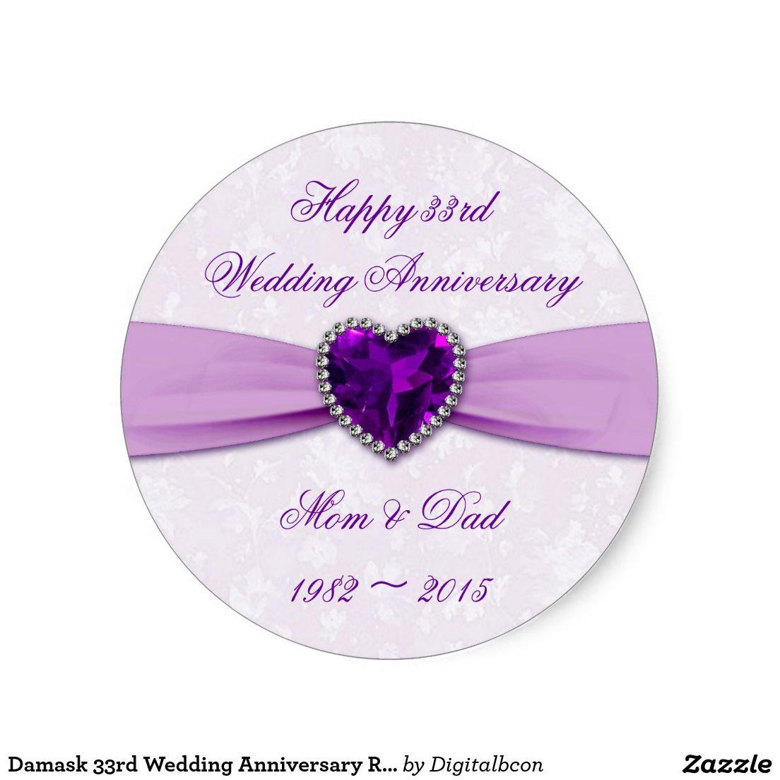 Damask 33rd Wedding Anniversary Round Sticker 33rd Wedding