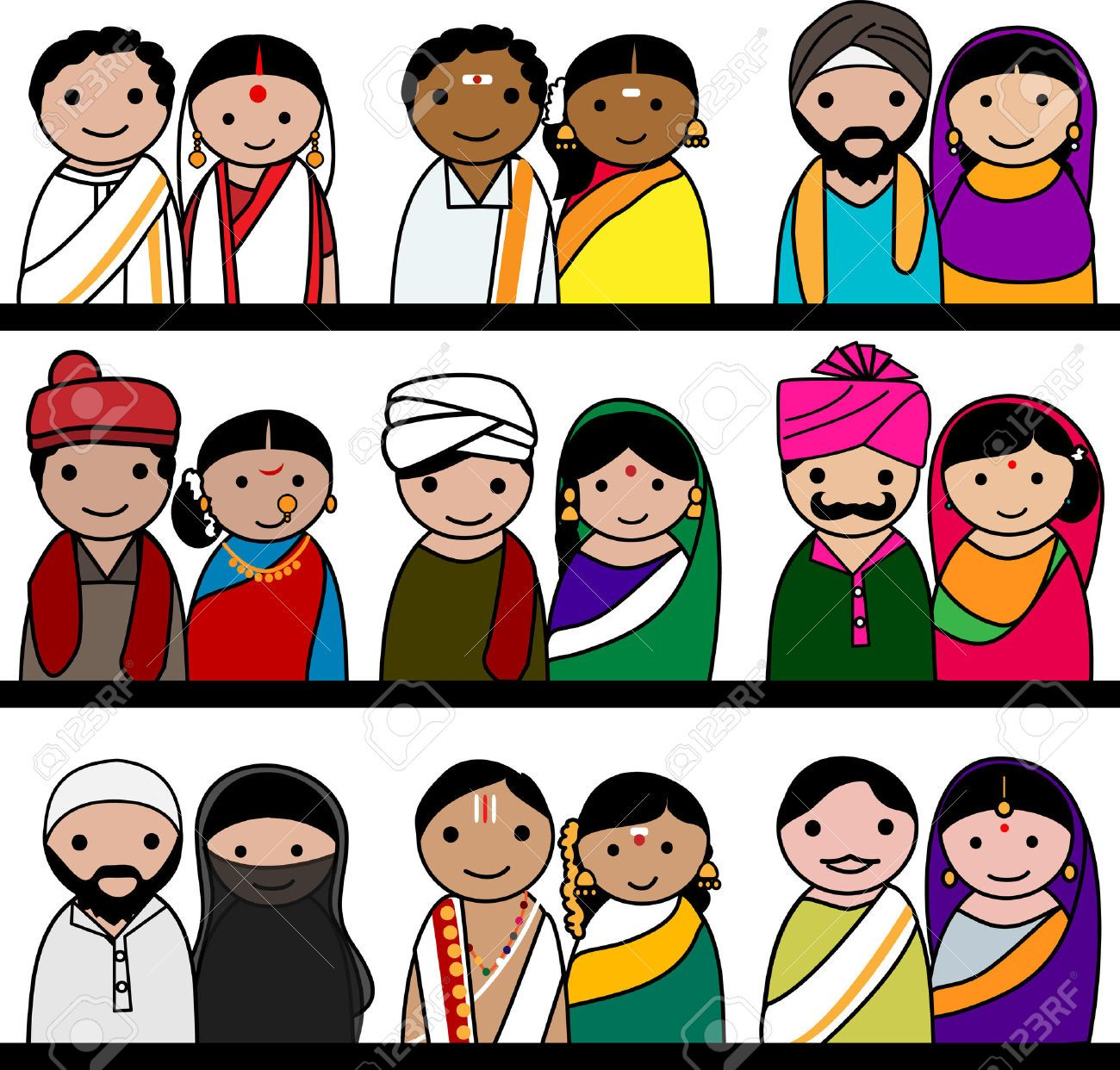 Crowd Of Indian Women Vector Avatars Stock Vector: 31385122-Indian-women-and-men-avatar-illustration-Indian