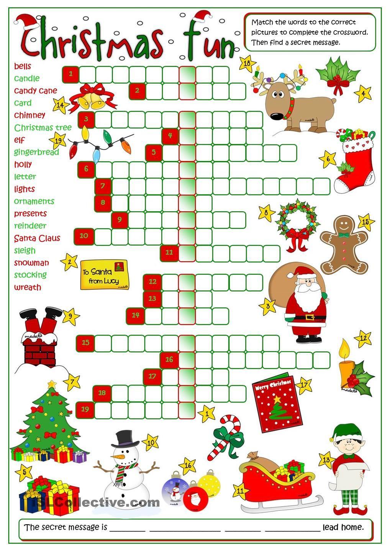 Christmas fun crossword Hojas de trabajo para navidad