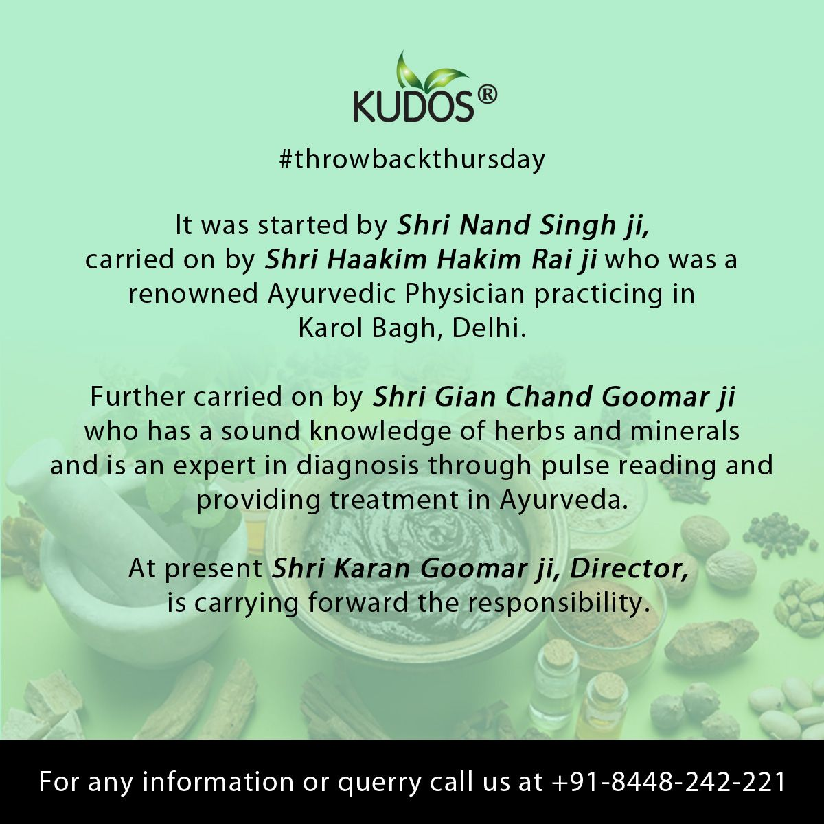 About- KUDOS Four generations are working keenly for the development of Ayurveda.