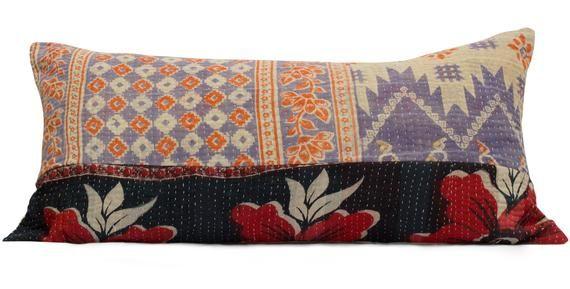 Vintage Kantha Quilt Pillow Purple Kantha Pillow Purple Bolster Pillow Indian Pillow Bohemian Pillow Patchwork Pillow Boho Lumbar Pillow