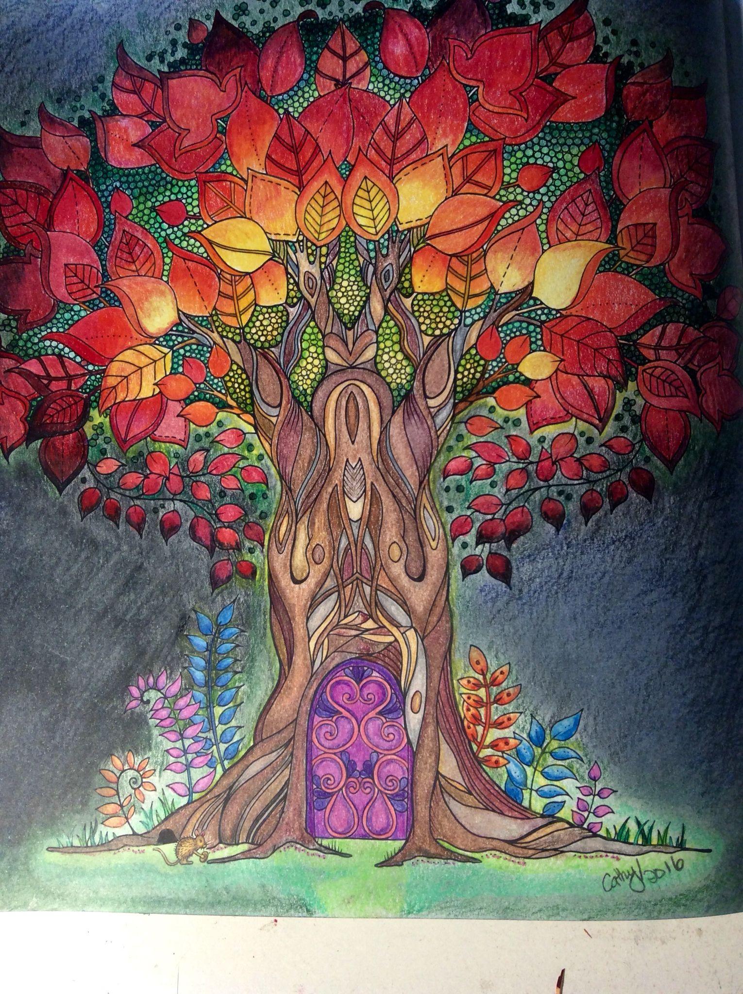 Treehouse Enchanted Forest Johanna Basford Cathyc Pencil Crayons