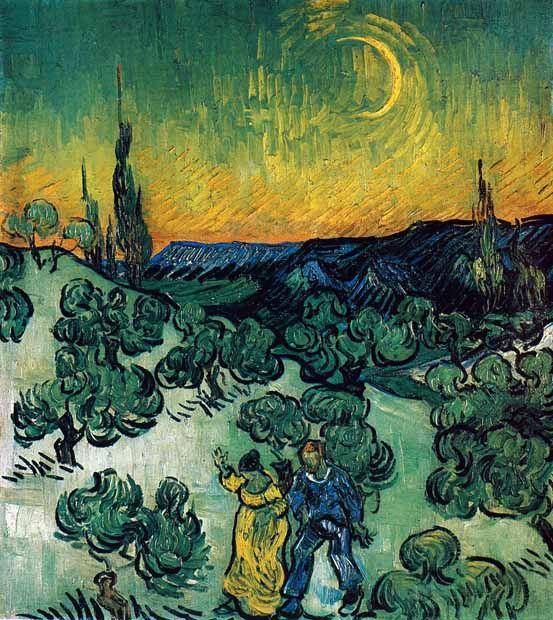 Vincent Van Gogh - Post Impressionism - Saint REMY - Paysage avec un couple sous un croissant de lune - 1889